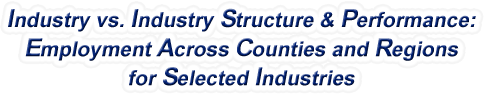 Tennessee - Industry vs. Industry Structure & Performance: Employment Across Counties and Regions for Selected Industries